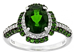 Green chrome diopside rhodium over silver ring 2.09ctw