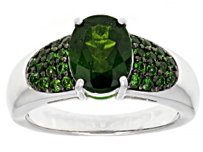 Green chrome diopside rhodium over sterling silver ring 2.00ctw