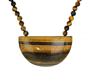 Brown Tigers Eye Rhodium Over Sterling Silver Necklace