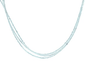 Blue Aquamarine Rhodium Over Sterling Silver Neacklace