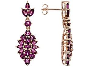 Raspberry color rhodolite 18k rose gold over silver dangle earrings 5.43ctw
