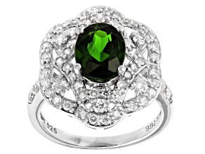 Green Chrome Diopside Rhodium Over Sterling Silver Ring 2.60ctw