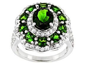 Green chrome diopside rhodium over silver ring 4.79ctw