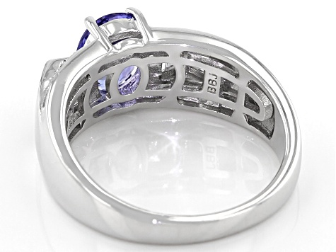 Blue tanzanite rhodium over sterling silver ring 1.86ctw