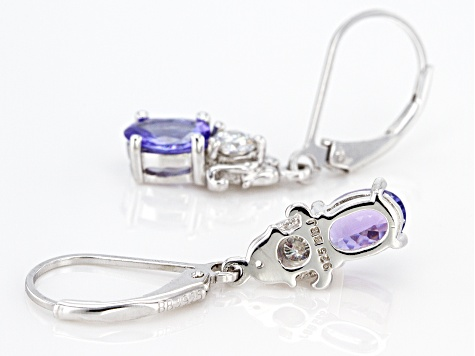 Blue Tanzanite Rhodium Over Sterling Silver Earrings 1.77ctw