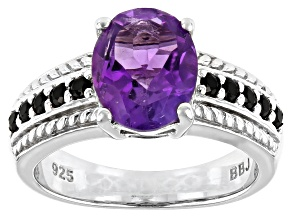 Purple amethyst rhodium over sterling silver ring 2.26ctw