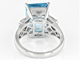 Sky Blue Topaz Rhodium Over Silver Ring 8.11ctw