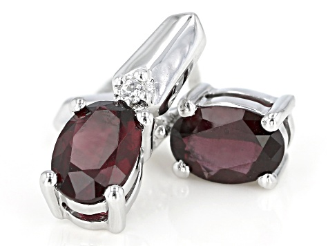 Red Anthill Garnet Rhodium Over Sterling Silver Earrings 1.50ctw