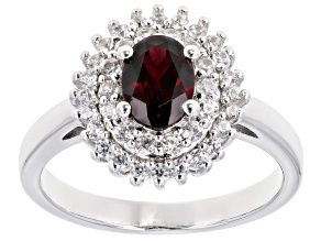 Red Anthill Garnet Rhodium Over Sterling Silver Ring 1.39ctw