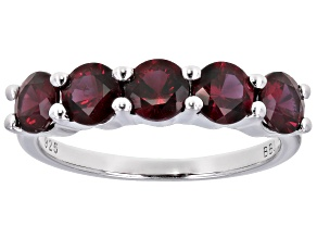 Red Anthill Garnet Rhodium Over Sterling Silver Band Ring 1.70ctw