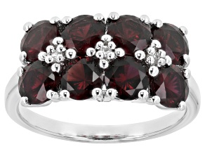 Red Anthill Garnet Rhodium Over Sterling Silver Ring 2.71ctw