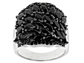 Black Spinel Rhodium Over Sterling Silver Ring 2.79ctw