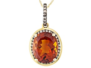 Orange Madeira citrine 10k gold pendant with chain  4.16ctw