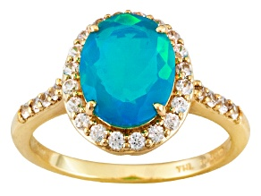 Blue Ethiopian Opal 10k Yellow Gold Ring 1.90ctw