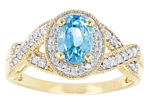Blue Cambodian Zircon 10k Yellow Gold Ring 1.29ctw.