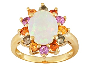 Multi Color Ethiopian Opal 10k Yellow Gold Ring 2.24ctw.