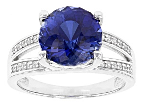 Blue Lab Created Sapphire Sterling Silver Ring. 4.68ctw.