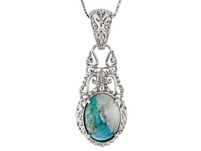 Blue Paraiba Tourmalinated Quartz Sterling Silver Enhancer With Chain