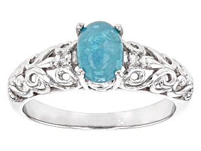 Blue Paraiba Tourmaline Sterling Silver Ring .83ctw