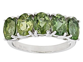 Green Apatite Sterling Silver Ring 3.20ctw