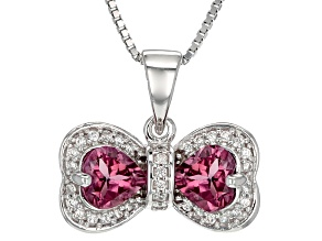 Pink Tourmaline Sterling Silver Bow Pendant With Chain 1.39ctw