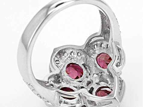 Pink Tourmaline Sterling Silver Ring 1.88ctw