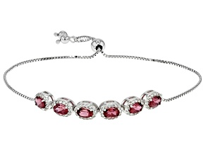 Pink Tourmaline Sterling Silver Bolo Bracelet 2.98ctw