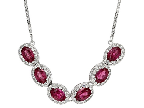 Pink Tourmaline Sterling Silver Necklace 2.98ctw