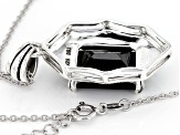 Black Sapphire Sterling Silver Pendant With Chain 15.32ct