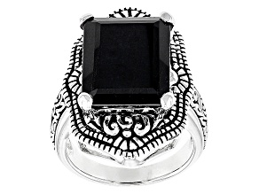 Black Sapphire Sterling Silver Ring 11.77ct
