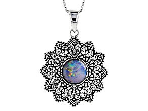 Multicolor Opal Triplet Sterling Silver Pendant With Chain
