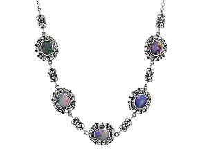 Multicolor Australian Opal Triplet Sterling Silver Necklace