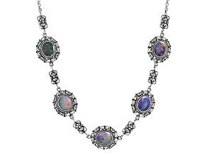 Multicolor Australian Opal Triplet Sterling Silver Necklace