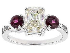 White Fabulite Strontium Titanate, Rhodolite Garnet And White Zircon Sterling Silver Ring 2.81ctw