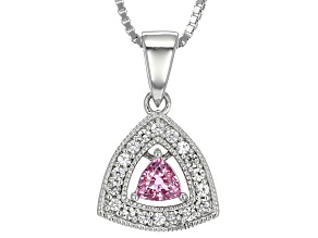 Pink Sapphire Sterling Silver Pendant With Chain .38ctw