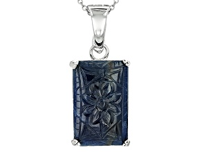 Blue Carved Sapphire Sterling Silver Enhancer With Chain 18.83ct