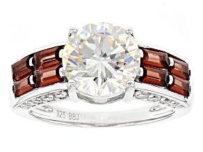 White Fabulite Strontium Titanate And Vermelho Garnet™ With .41ctw Zircon Silver Ring 5.08ctw