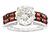White Fabulite Strontium Titanate And Vermelho Garnet™ With .41ctw Zircon Silver Ring 5.08ctw