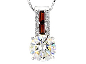 Fabulite Strontium Titanate And Vermelho Garnet™ & White Zircon Silver Pendant With Chain 4.07ctw