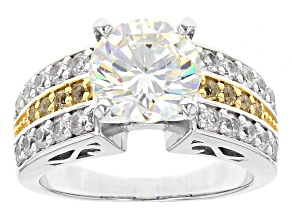 White  Fabulite Strontium Titanate Sterling Silver Ring 4.84ctw