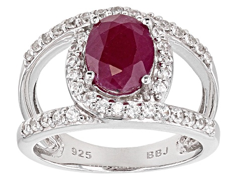 Mahaleo Ruby Sterling Silver Ring 2.15ctw