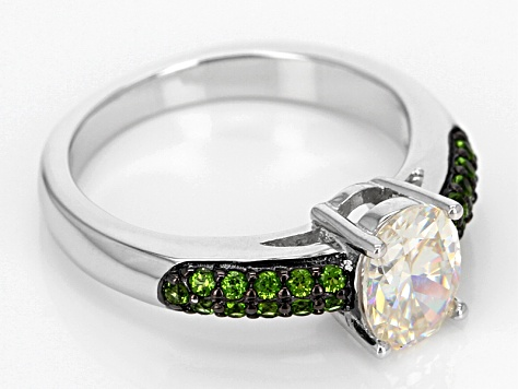 White Fabulite Strontium Titanate With Russian Chrome Diopside Sterling Silver Ring 1.91ctw
