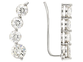 White Lab Created Strontium Titanate Silver Climber Earrings 3.45ctw