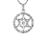 White Lab Strontium Titanate Silver Star Of David Pendant With Chain .99ctw