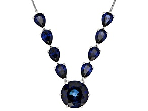 Blue Lab Created Sapphire Sterling Silver Bolo Necklace 11.49ctw