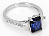 Blue Lab Sapphire Sterling Silver Ring 2.32ctw