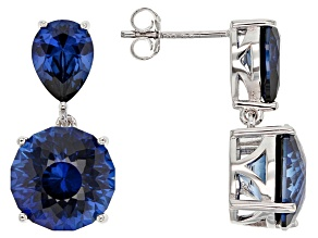Blue Lab Created Sapphire Sterling Silver Earrings 10.64ctw