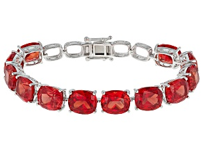 Orange Lab Created Padparadscha Sapphire Silver Bracelet 76.80ctw