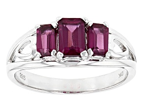 Purple Rhodolite Sterling Silver 3-Stone Ring 1.46ctw