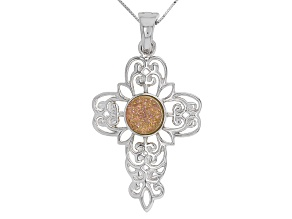 Golden Pink Drusy Quartz Sterling Silver Cross Enhancer With Chain